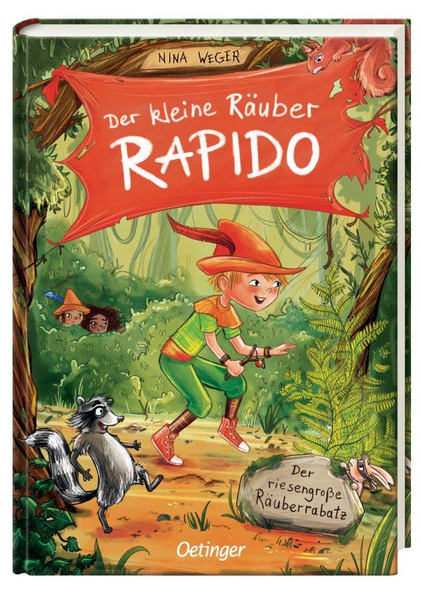 """Buchcover zu """"Der kleine Räuber Rapido, Band !. Der riesengroße Räuberrabatz"""" von Nina Weger, Oetinger Verlag - vorgestellt im werner-haerter-archiv.de"""